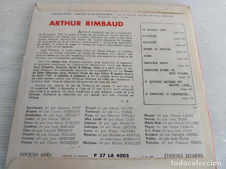 Discos de vinilo: ARTHUR RIMBAUD / POÈTES DAUJOURDHUI / SACHA PITOËFF / EP-33 R.P.M. / MBC. ***/*** - Foto 2 - 274345018