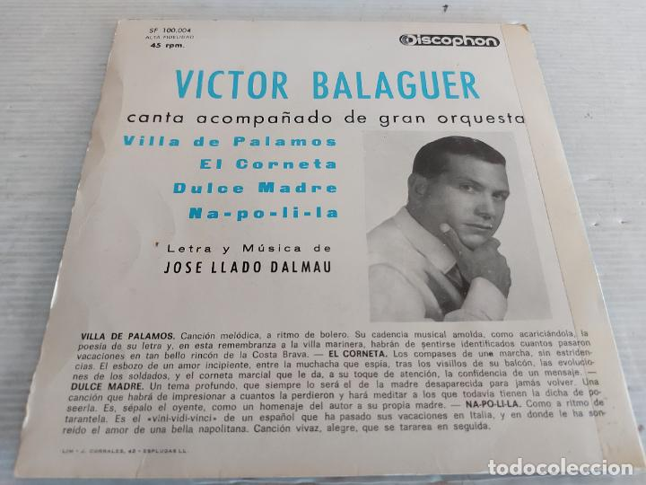 Discos de vinilo: VICTOR BALAGUER / VILLA DE PALAMÓS + 3 / EP - DISCOPHON-1965 / MBC. ***/*** - Foto 2 - 274385493