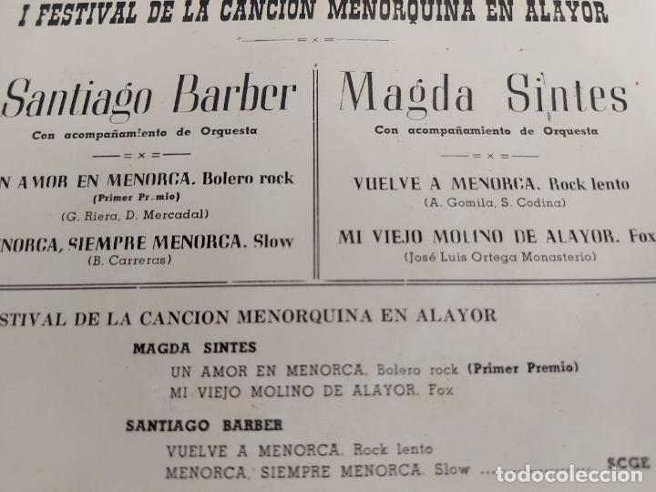Discos de vinilo: 1º FESTIVAL CANCION MENORQUINA EN ALAYOR / M. SINTES - S. BARBER / EP-COLUMBIA-1964 / MBC. ***/*** - Foto 3 - 274386223