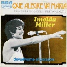 Discos de vinilo: IMELDA MILLER – QUE ALEGRE VA MARIA, 1ER. PREMIO DEL II FEST. O.T.I. - SG SPAIN 1973 - RCA VICTOR. Lote 274411538