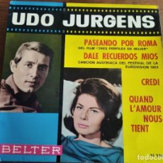 Discos de vinilo: UDO JURGENS - DALE RECUERDOS MÍOS + 3 **** RARO EP ESPAÑOL 1965 BUEN ESTADO. Lote 274416588