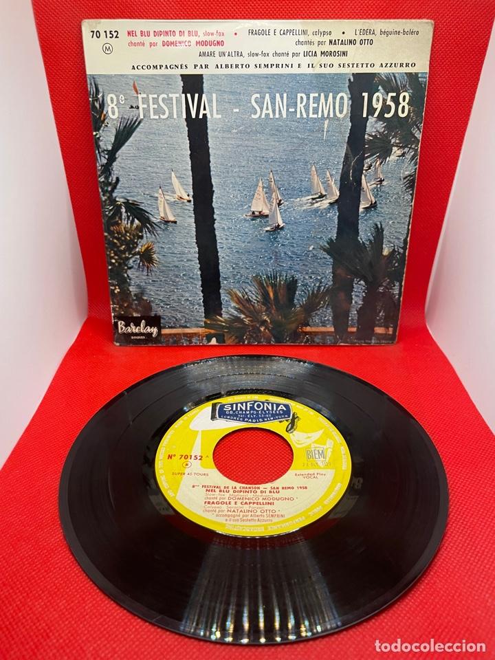 SINGLE 8 FESTIVAL DE SAN REMO 1958 (Música - Discos de Vinilo - EPs - Otros Festivales de la Canción)