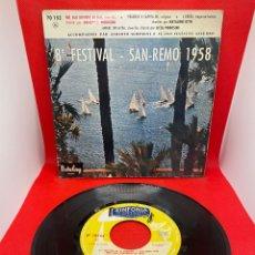 Discos de vinilo: SINGLE 8 FESTIVAL DE SAN REMO 1958. Lote 274434183