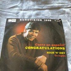 Discos de vinilo: DISCO VINILO CLIFF RICHARD CANTA EN ESPAÑOL Y EN INGLÉS CONGRATULATIONS, HIGH 'N DRY EUROVISION 1968. Lote 274439318