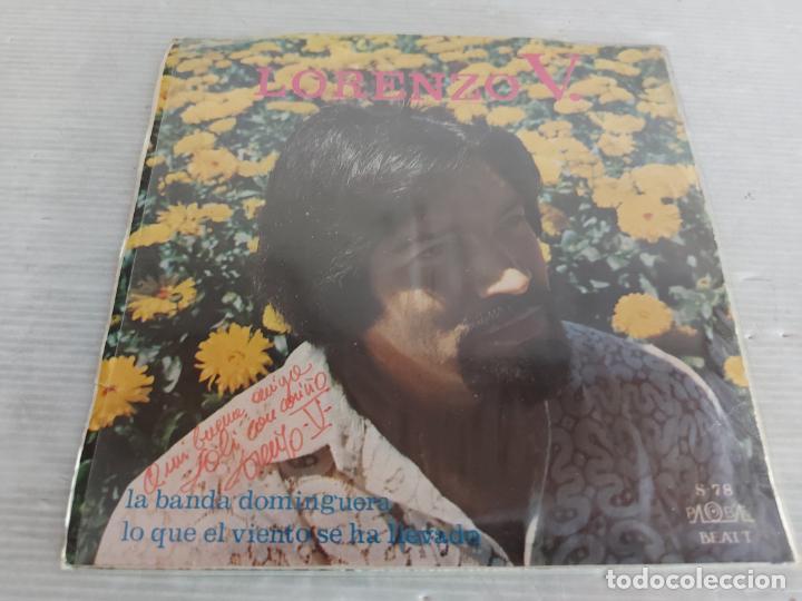 Discos de vinilo: FIRMADO !! LORENZO V. / LA BANDA DOMINGUERA / SINGLE - PALOBAL-1971 / MBC. ***/*** - Foto 2 - 274542603