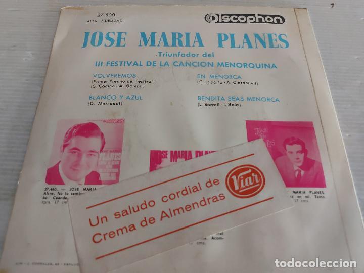 Discos de vinilo: JOSE MARIA PLANES / III FESTIVAL DE LA CANCIÓN MENORQUINA / EP-DISCOPHON-1966 / MBC. ***/*** - Foto 2 - 274544888