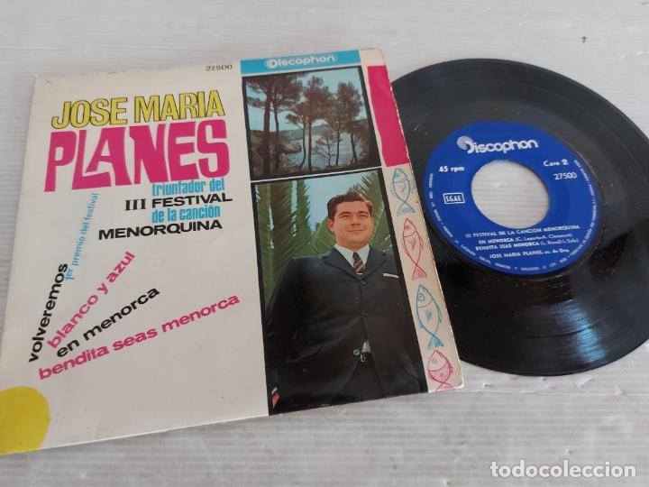 JOSE MARIA PLANES / III FESTIVAL DE LA CANCIÓN MENORQUINA / EP-DISCOPHON-1966 / MBC. ***/*** (Música - Discos de Vinilo - EPs - Otros Festivales de la Canción)
