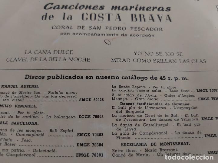 Discos de vinilo: CORAL DE SAN PEDRO PESCADOR / CANCIONES MARINERAS / EP - COLUMBIA-1965 / MBC. ***/*** - Foto 3 - 274545918
