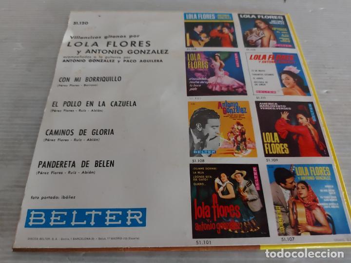 Discos de vinilo: LOLA FLORES Y ANTONIO GONZALEZ / VILLANCICOS GITANOS / EP-BELTER-1964 / MBC. ***/*** - Foto 2 - 274546813