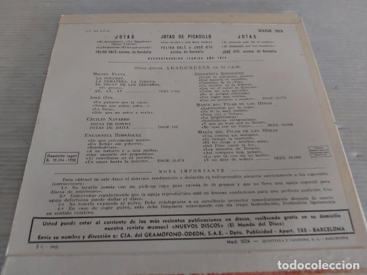 Discos de vinilo: FELISA GALÉ Y JOSÉ OTO / ARAGÓN / EP - ODEON-1963 / MBC. ***/*** - Foto 2 - 274547243