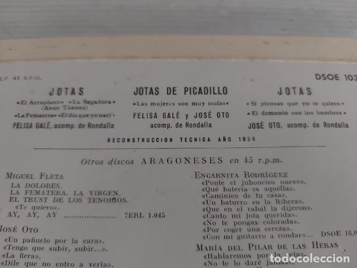 Discos de vinilo: FELISA GALÉ Y JOSÉ OTO / ARAGÓN / EP - ODEON-1963 / MBC. ***/*** - Foto 3 - 274547243