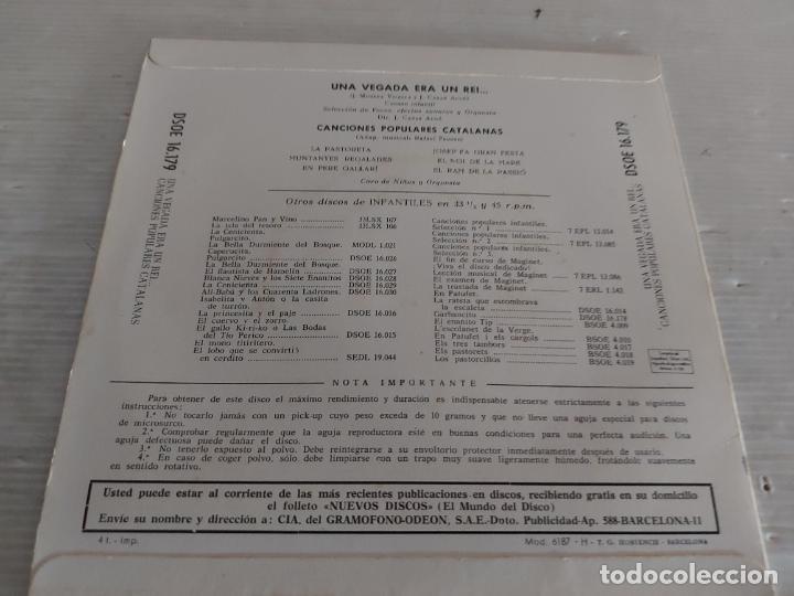 Discos de vinilo: UNA VEGADA ERA UN REI / CANCIONES POPULARES CATALANAS / EP-ODEON-1958 / MBC. ***/*** - Foto 2 - 274566918