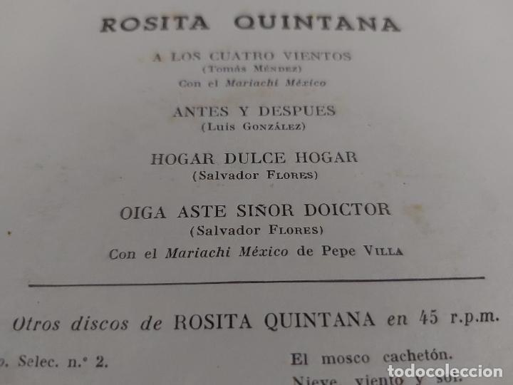 Discos de vinilo: ROSITA QUINTANA CON EL MARIACHI MÉXICO DE PEPE VILLA / EP - ODEON-1958 / MBC. ***/*** - Foto 3 - 274567833