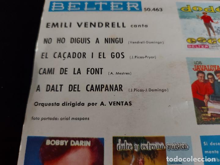 Discos de vinilo: EMILI VENDRELL / CAMI DE LA FONT + 3 / EP - BELTER-1961 / MBC. ***/*** - Foto 3 - 274683013