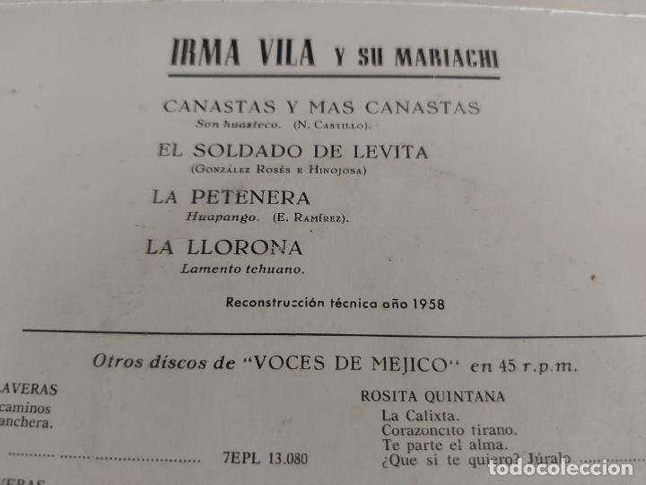 Discos de vinilo: IRMA VILA Y SU MARIACHI / EP-LA VOZ DE SU AMO-1958 / MBC. ***/*** - Foto 3 - 274683353