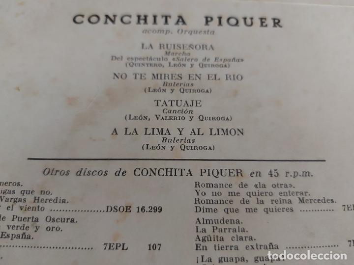 Discos de vinilo: ASÍ CANTA CONCHITA PIQUER / SERIE 3 / EP-LA VOZ DE SU AMO / SIN FECHA / MBC. ***/*** - Foto 3 - 274684983