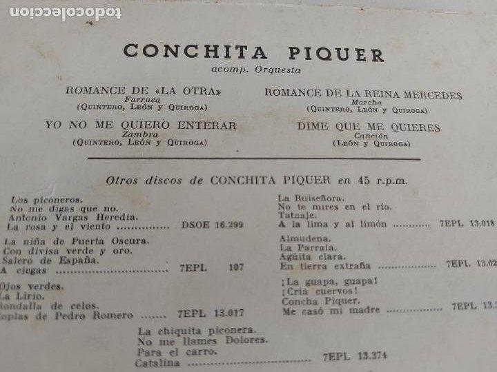 Discos de vinilo: ASÍ CANTA CONCHITA PIQUER / SERIE 4 / EP-LA VOZ DE SU AMO / SIN FECHA / MBC. ***/*** - Foto 3 - 274686733