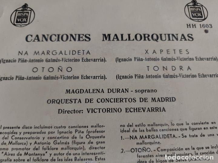 Discos de vinilo: MAGDALENA DURAN / CANCIONES MALLORQUINAS / EP-HISPAVOX - AÑOS 50 / MBC. ***/*** - Foto 3 - 274698558