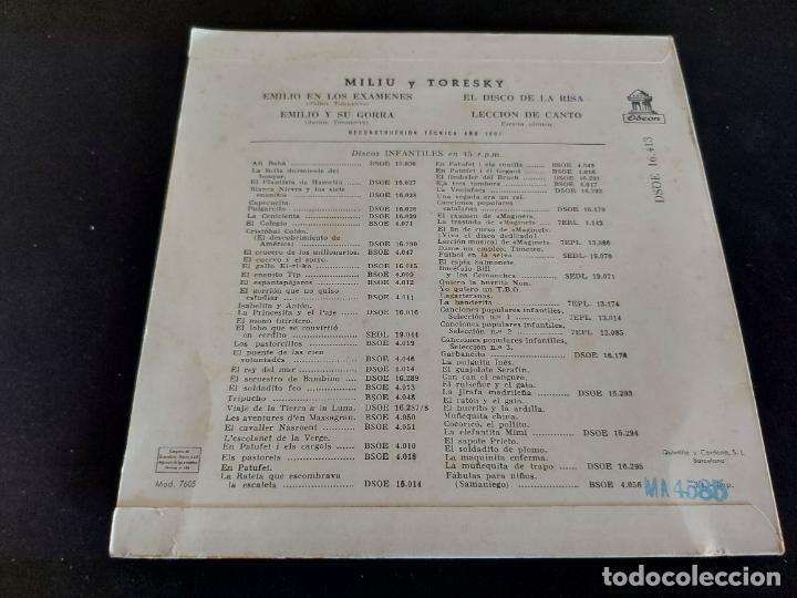 Discos de vinilo: MILIU Y TORESKY / EMILIO Y SU GORRA + 3 / EP - ODEON-1961 / MBC. ***/*** - Foto 2 - 274700923