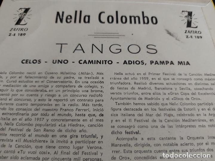 Discos de vinilo: NELLA COLOMBO CON LA ORQUESTA MARAVELLA / CELOS + 3 / EP-ZAFIRO-1960 / MBC. ***/*** - Foto 3 - 274705298