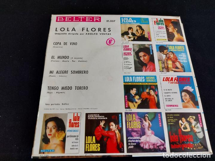 Discos de vinilo: LOLA FLORES / COPA DE VINO + 3 / EP - BELTER-1966 / MBC. ***/*** - Foto 2 - 274705838