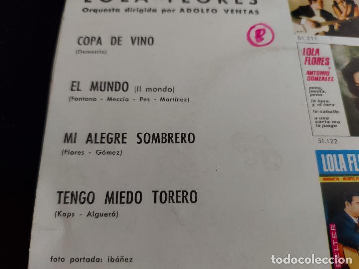 Discos de vinilo: LOLA FLORES / COPA DE VINO + 3 / EP - BELTER-1966 / MBC. ***/*** - Foto 3 - 274705838