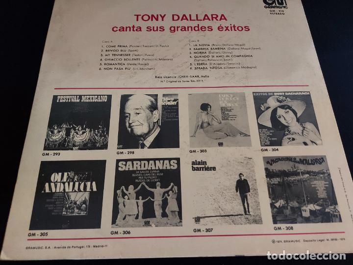 Discos de vinilo: TONY DALLARA CANTA SUS GRANDES ÉXITOS / LP - GRAMUSIC-1974 / MBC. ***/*** - Foto 2 - 274801078