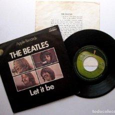 Discos de vinilo: THE BEATLES - LET IT BE - SINGLE APPLE RECORDS 1970 JAPAN FIRST EDITION JAPON (EDICIÓN JAPONESA) BPY. Lote 274868348