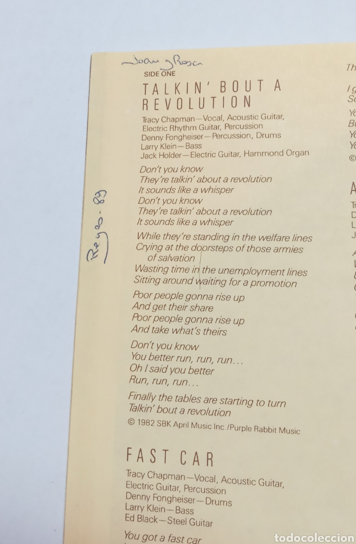 Discos de vinilo: LP TRACY CHAPMAN, VINILO DE DEBUT 1988, MUY BUEN ESTADO - Foto 5 - 275054183
