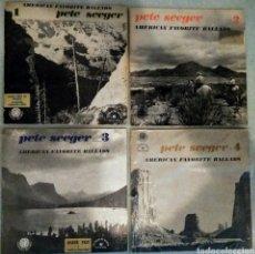 Disques de vinyle: PETE SEEGER - AMERICAN FAVORITE BALLADS VOL. 1-4 - LOTE 4 LPS - FOLKWAYS / LE CHANT DU MONDE. Lote 275074358