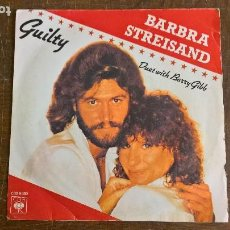Discos de vinilo: BARBRA STREISAND. DUET WITH BARRY GIBB. GUILTY. NEVER GIVE UP. CBS 1981.. Lote 275243758