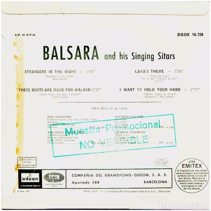 Discos de vinilo: Balsara - Strangers In The Night - Ep Spain 1967 - Odeon DSOE 16.728 - Beatles - Foto 2 - 275306143
