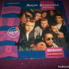 Discos de vinilo: AFRIKA BAMBAATAA AND FAMILY - RECKLESS FEATURING - UB40 ..MAXISINGLE 1988. Lote 275321593
