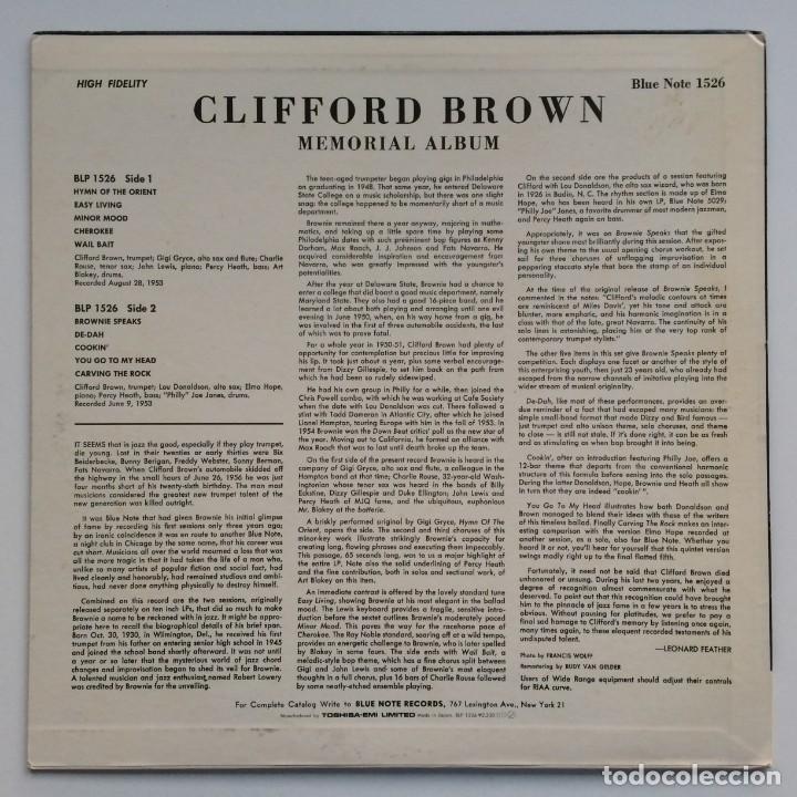 Discos de vinilo: Clifford Brown – Memorial Album Japan,1983 Blue Note - Foto 2 - 275342343