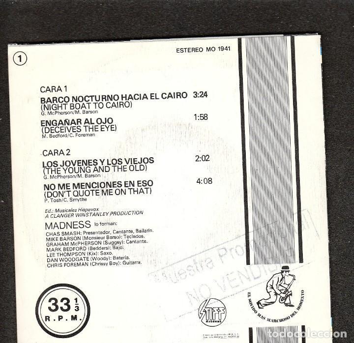 Discos de vinilo: MADNESS: EP REGGAE- SKA- PROMO SPAIN 7 P/S NO VENDIBLE- EX/EX- OPORTUNIDAD - Foto 2 - 275751728