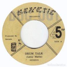 "Discos de vinilo: GENESIS - DRUM TALK - 7"" [GENETIC / DUG OUT, 2015] ROOTS REGGAE. Lote 276155838"