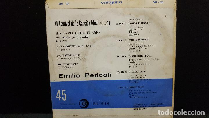 Discos de vinilo: EMILIO PERICOLI. VI FESTIVAL CANCION MEDITERRANEA. HO CAPITO CHE TI AMO. EP. VERGARA 1964 PEP.ETO - Foto 2 - 276198988