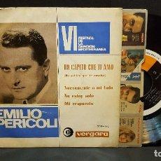 Discos de vinilo: EMILIO PERICOLI. VI FESTIVAL CANCION MEDITERRANEA. HO CAPITO CHE TI AMO. EP. VERGARA 1964 PEP.ETO. Lote 276198988