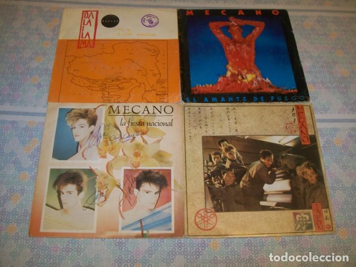 MECANO - LOTE DE SINGLES ,,UNO FIRMADO ,,JAPON, DALAI LAMA, LA FIESTA NACIONAL Y EL AMANTE DE FUEGO (Música - Discos - Singles Vinilo - Grupos Españoles de los 70 y 80)