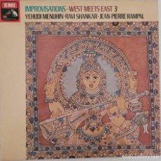 Discos de vinilo: WEST MEETS EAST 3 / Y. MENUHIN, R. SHANKAR, J P RAMPAL. Lote 276209863