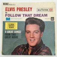 Discos de vinilo: ELVIS PRESLEY – FOLLOW THAT DREAM, UK 1962 RCA. Lote 276225308