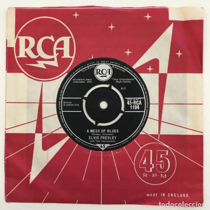 Discos de vinilo: Elvis Presley With The Jordanaires – A Mess Of Blues, UK 1960 RCA - Foto 2 - 276227453