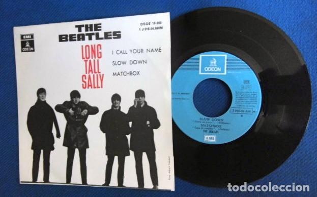 BEATLES SINGLE EP RE EDICION EDITADO POR EMI ODEON ESPAÑA DOS REFERENCIAS LABEL AZUL CIELO (Música - Discos de Vinilo - EPs - Pop - Rock Internacional de los 70)
