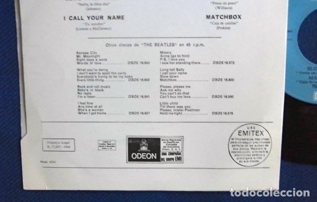 Discos de vinilo: BEATLES SINGLE EP RE EDICION EDITADO POR EMI ODEON ESPAÑA DOS REFERENCIAS LABEL AZUL CIELO - Foto 6 - 276288883