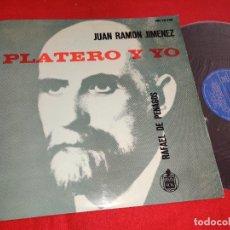 Discos de vinilo: PLATERO Y YO JUAN RAMON JIMENEZ + RAFAEL DE PENAGOS . SELECCION ANTOLOGICA LP 1961 HISPAVOX. Lote 276376288