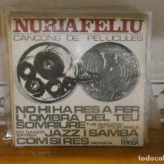 Discos de vinilo: DISCO 7 PULGADAS EP NURIA FELIU CANÇONS DE PELICULAS 1966 LEVISIMA CURVATURA. Lote 276425008