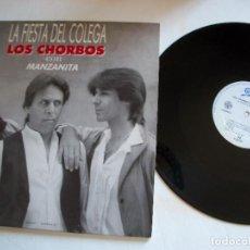 Discos de vinilo: LOS CHORBOS CON MANZANITA-LA FIESTA DEL COLEGA-MAXI SINGLE VINILO-PORTADA PROMO. Lote 276452033