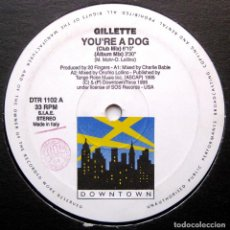 Discos de vinilo: GILLETTE - YOU'RE A DOG - MAXI DOWNTOWN 1995 ITALIA BPY. Lote 276520158