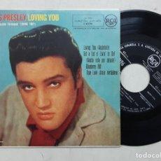 Discos de vinil: EP ELVIS PRESLEY, LOVING YOU, BLUEBERRY HILL, TRUE LOVE + 1 , ORIGINAL ESPAÑOL 1958. Lote 276552428