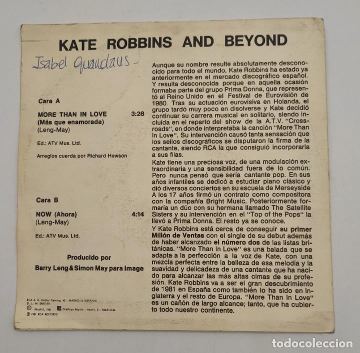 """Discos de vinilo: Vinilo de 7 pulgadas de Kate Robbins que contiene """"more than in love"""" y """"now"""". Discográfica: RCA. - Foto 4 - 276684553"""